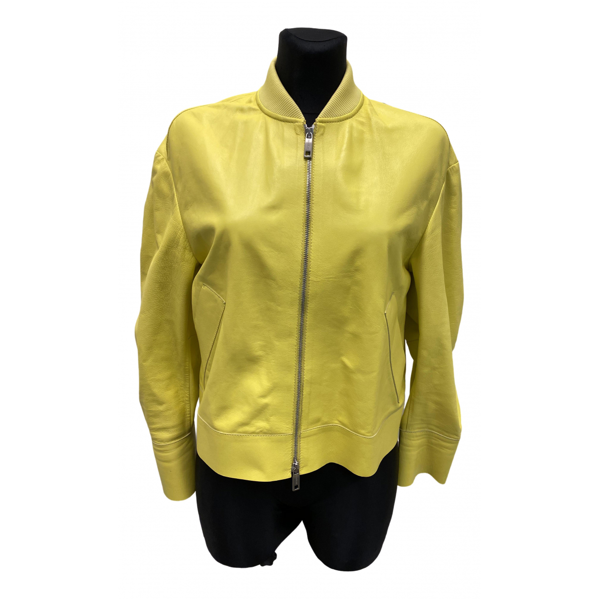 Sport Max - Blouson   pour femme en cuir - jaune