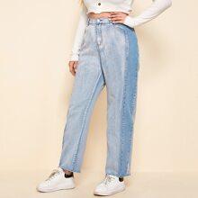 Plus Contrast Side Raw Hem Washed Jeans