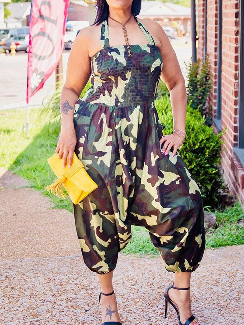 Ericdress Mid-Calf Camouflage Fashion Loose Jumpsuit