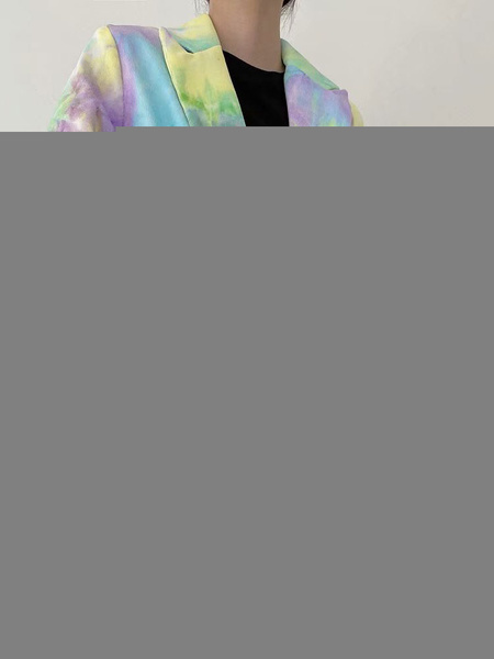 Milanoo Blazers de mujer Tie Dye Cuello vuelto Botones de manga larga Blazer informal