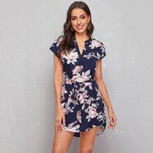 Notched Neck Asymmetrical Hem Belted Floral Dress