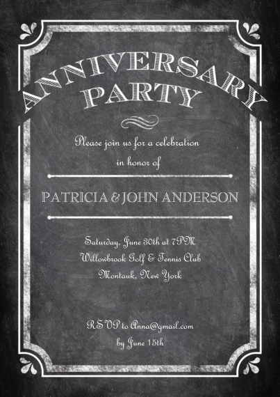 Anniversary Invitations 5x7 Cards, Premium Cardstock 120lb with Scalloped Corners, Card & Stationery -Anniversary Party Frame Chalkboard