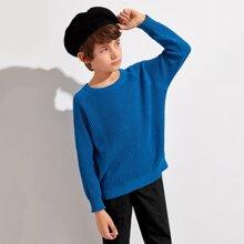 Gerippter einfarbiger Strick Pullover mit Raglanaermeln