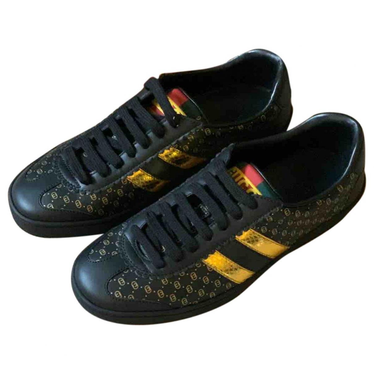 Gucci Gucci Dapper Dan Black Leather Trainers for Women 36.5 EU