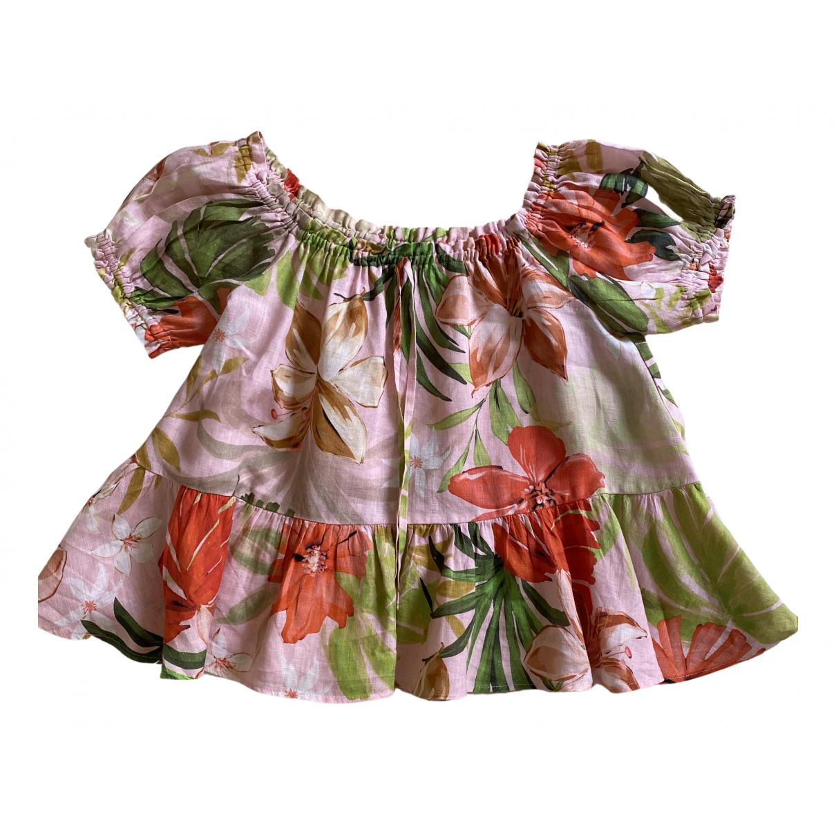 Zara - Top   pour femme en lin - rose
