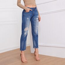 High-Waisted Ripped Straight Jeans