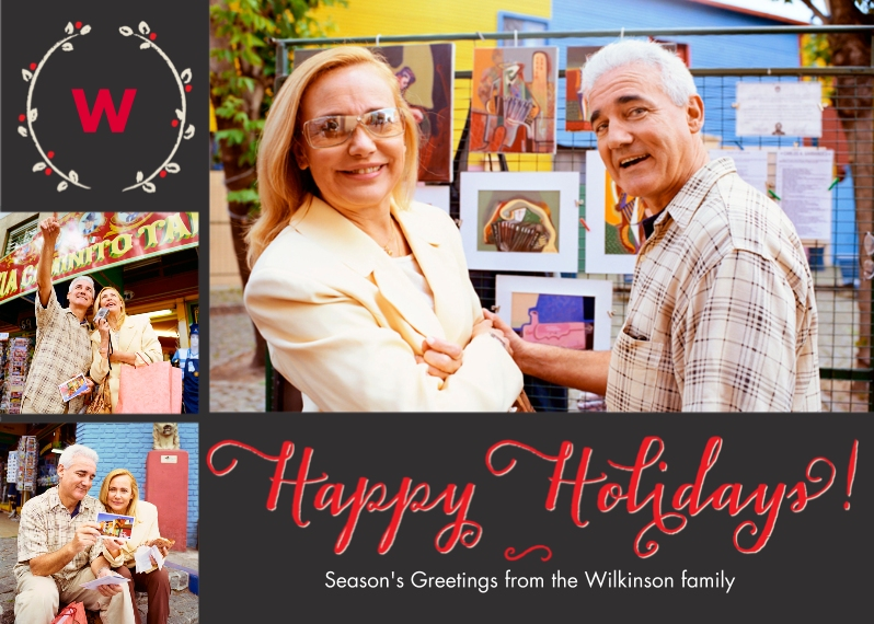 Holiday Photo Cards Mail-for-Me Premium 5x7 Folded Card , Card & Stationery -Holiday Wreath