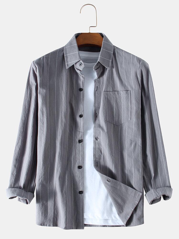 Mens Plain Solid Color Stripe Chest Pocket Long Sleeve Shirts