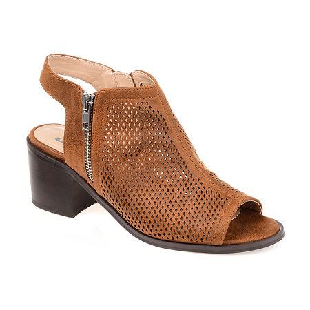 Journee Collection Womens Tibella Booties Block Heel, 6 Medium, Brown