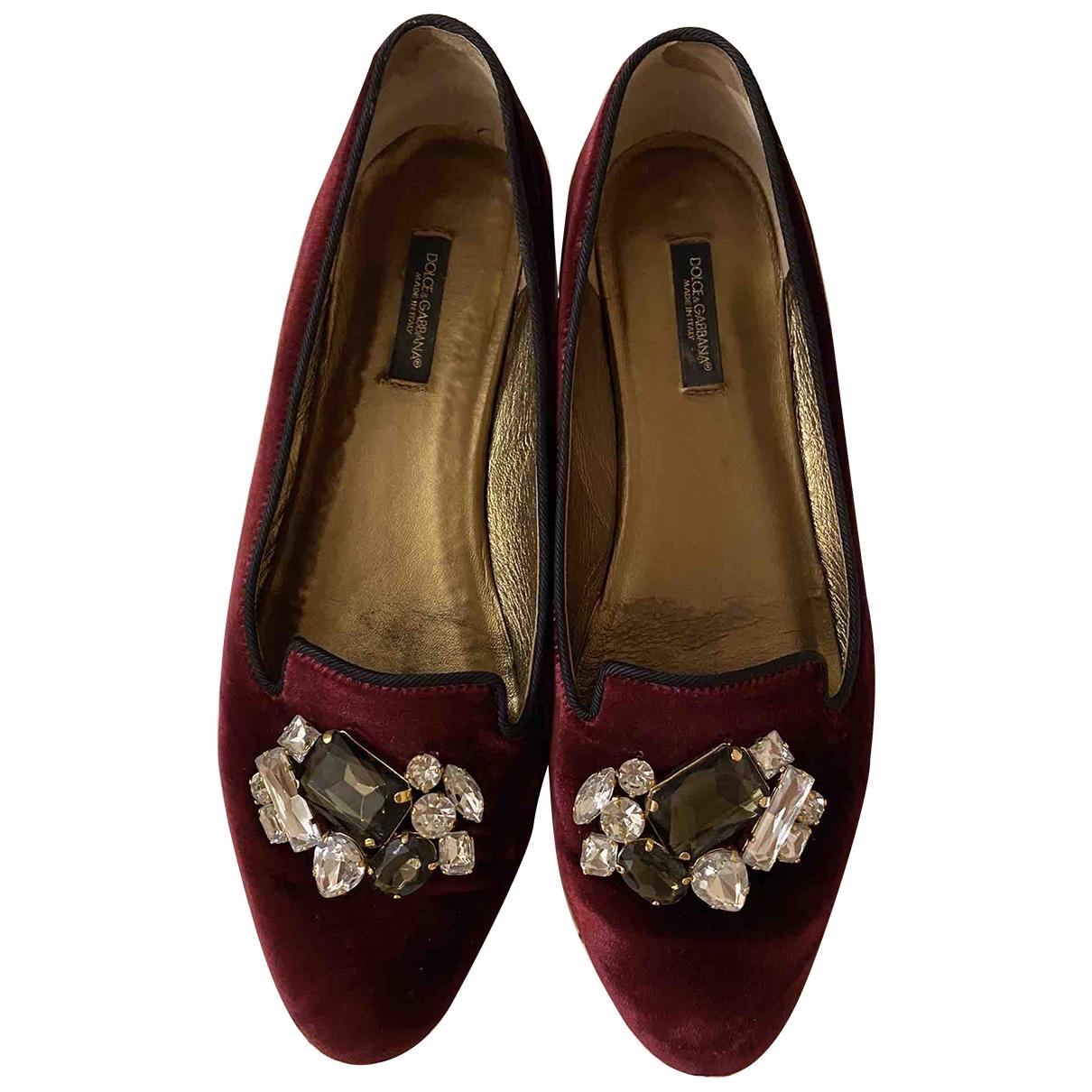 Dolce & Gabbana - Mocassins   pour femme en velours - bordeaux