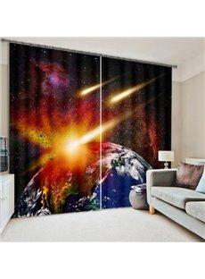 3D Amazing Planets Collision 2 Panels Living Room Custom Curtain