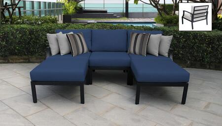 Lexington Collection LEXINGTON-05e-NAVY 5-Piece Aluminum Patio Set 05e with 1 Left Arm Chair   1 Right Arm Chair   1 Armless Chair   2 Ottoman - Ash