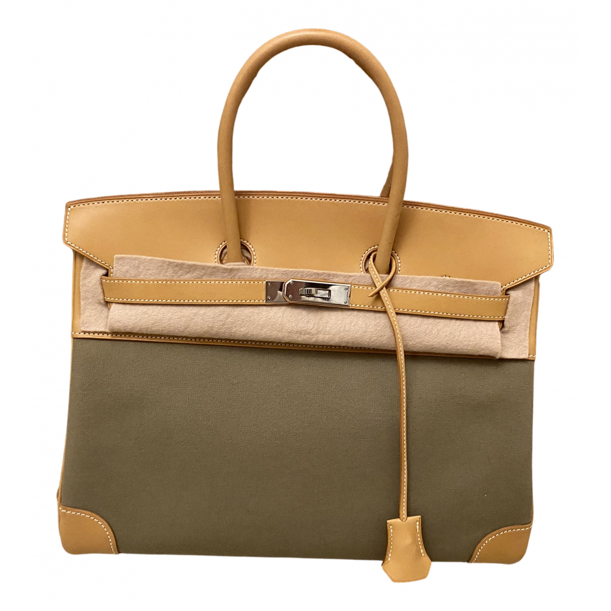 Hermès Birkin 35 Khaki Cloth handbag for Women \N