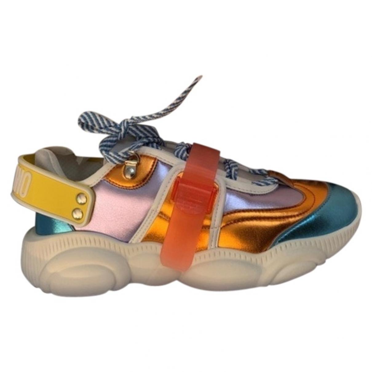 Moschino - Baskets   pour femme en cuir - multicolore
