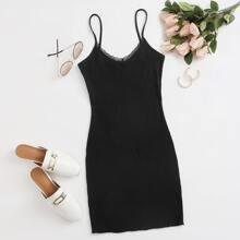 Lace Trim Rib-knit Bodycon Dress