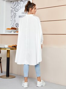 Collared Flap Detail Dip Hem Dip Hem Oversized Blouse