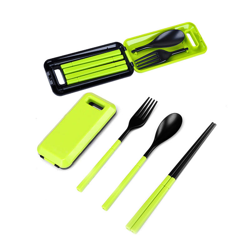 3 Pcs ABS Fork Spoon Chopstick Folding Tableware Camping Picnic Travel Portable Chinese Dinnerware Sets