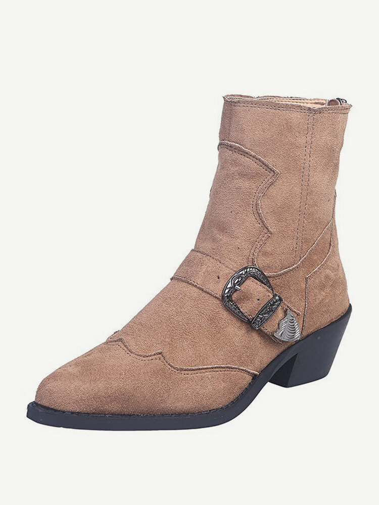 Plus Size Women Comfy Suede Pointed Toe Buckle Belt Zipper Chunky Heel Short Boots