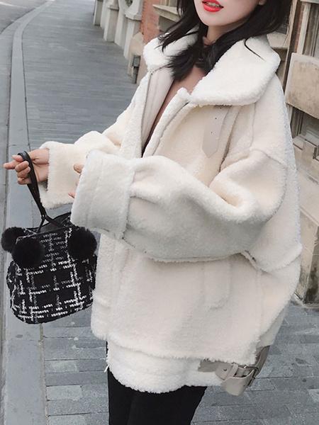 Milanoo Faux Fur Coats White Turndown Collar Long Sleeve Faux Shearling Winter Coat