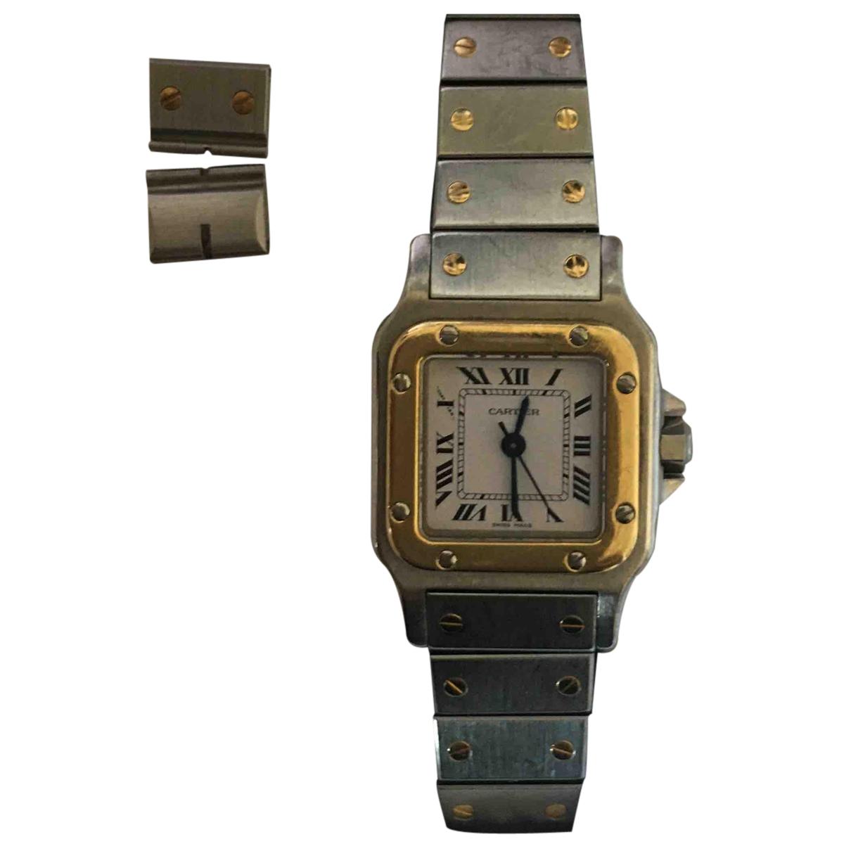 Cartier - Montre Santos Galbee pour femme en or et acier - argente