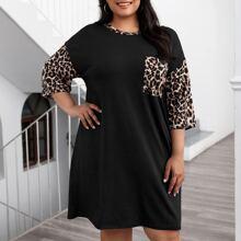 Kleid mit Leopard Muster und Taschen Flicken