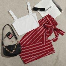 Top mit Ruesche, Riemen & Hose mit Papiertasche Taille und Streifen