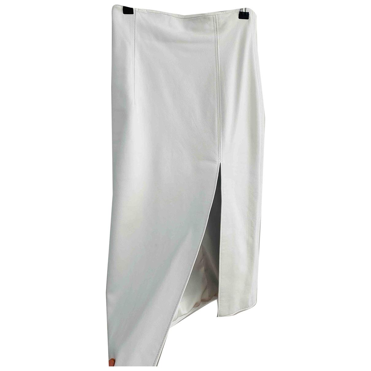 16 Arlington - Jupe   pour femme en cuir - blanc