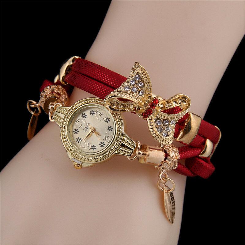 Trendy Rhinestone Bow Pendant Watch Multi-layer Leather Bracelet Wristwatch Vintage Jewelry