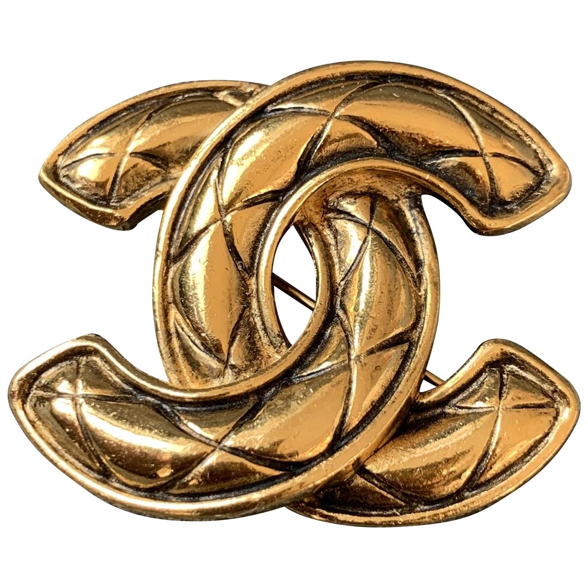 Chanel CC Brosche in  Gold Vergoldet