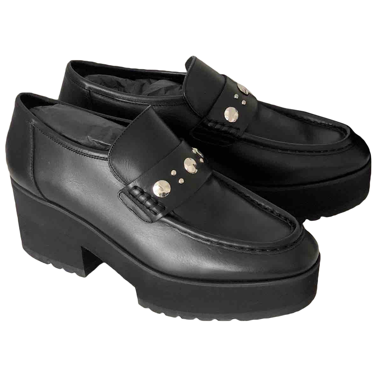 Maje \N Black Leather Flats for Women 39 EU