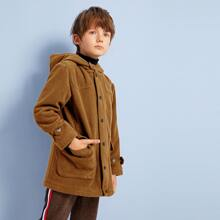 Boys Button Front Hooded Overcoat
