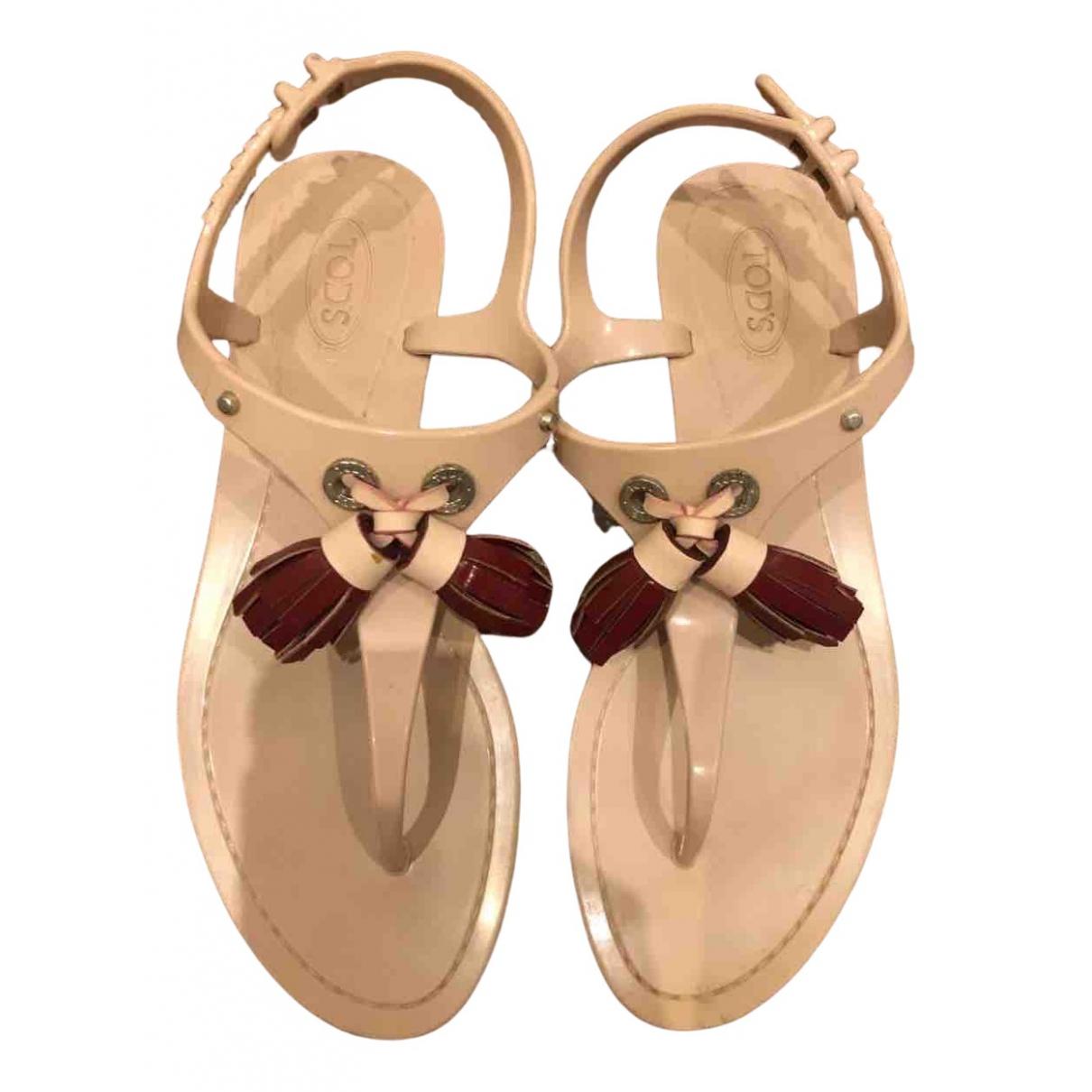 Tod's N Beige Rubber Sandals for Women 36 EU