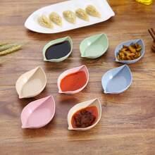 1pc Leaf Shaped Random Color Seasoning Dish