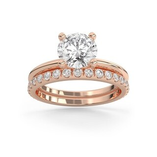 2.35 CT Moissanite Aura Classic Round Diamond Bridal Set in 14K Gold (Rose - 10.5)