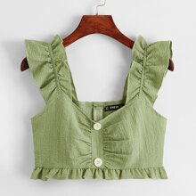 Ruffle Trim Ruched Button Front Crop Top