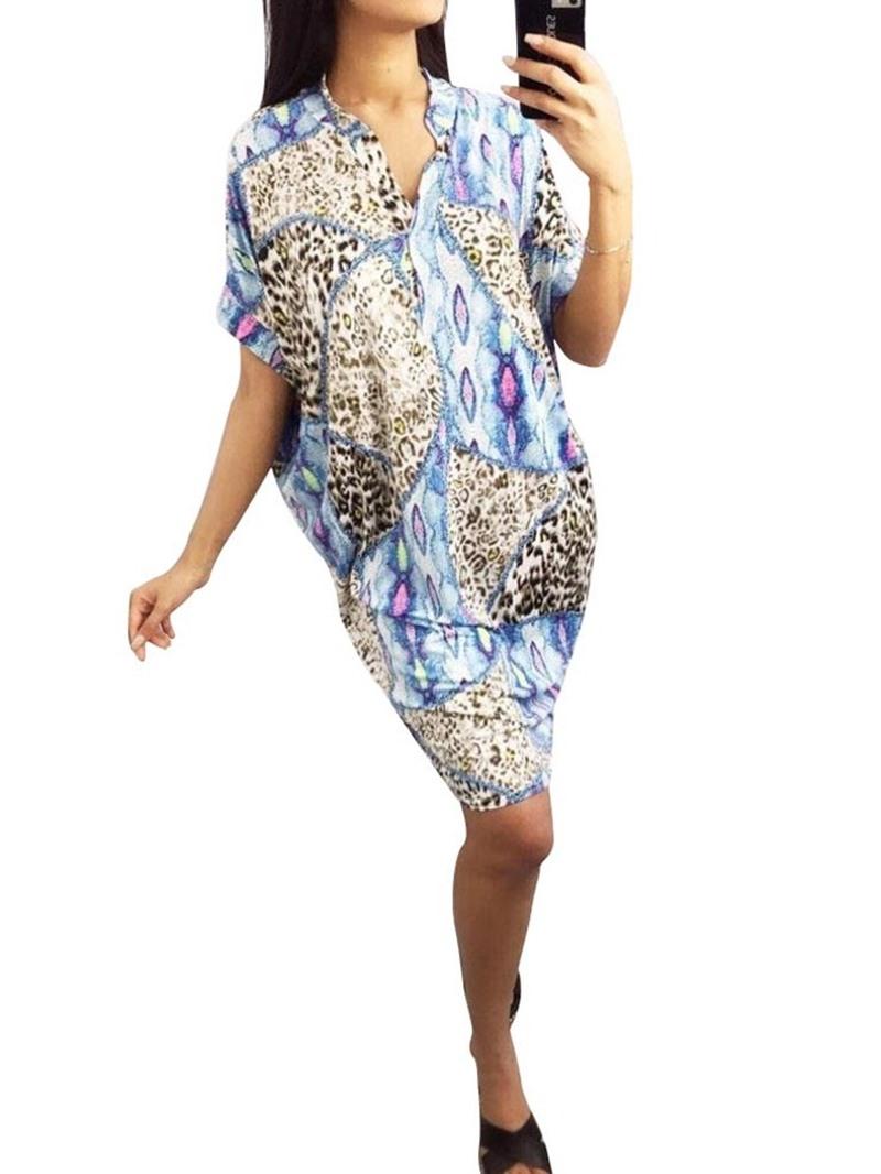 Ericdress Print Casual Above Knee V-Neck Straight Summer Dress