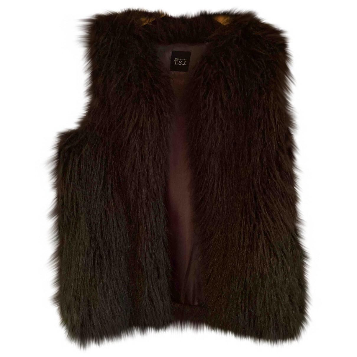 Twin Set - Manteau   pour femme en fourrure synthetique - marron