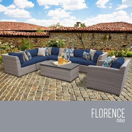 FLORENCE-08d-NAVY Florence 8 Piece Outdoor Wicker Patio Furniture Set 08d with 2 Covers: Grey and
