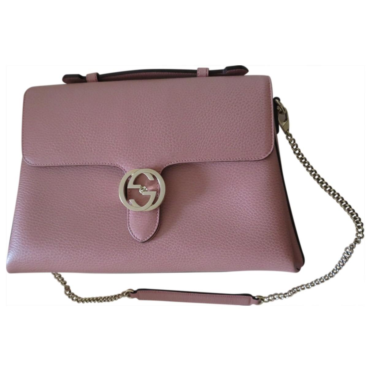Gucci Interlocking Handtasche in  Rosa Leder