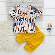 Kleinkind Jungen T-Shirt mit Geo Muster und Shorts