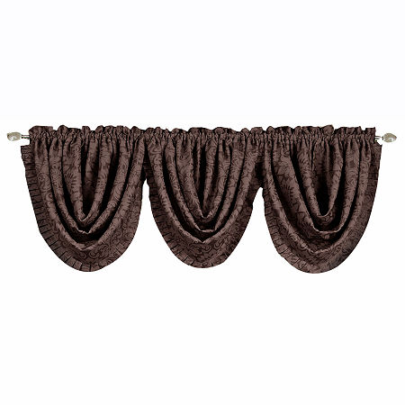 Sutton Rod-Pocket Waterfall Valance, One Size , Brown