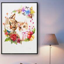 Cat Print DIY Diamond Painting Without Frame