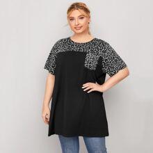 T-Shirt mit Kontrast Leopard Muster