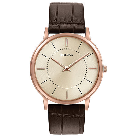 Bulova Classic Mens Brown Leather Strap Watch-97a126, One Size , No Color Family
