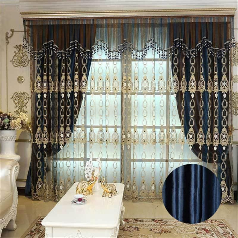 European Classical Soft and Smooth Chenille Blackout Custom Grommet Curtain for Living Room Bedroom
