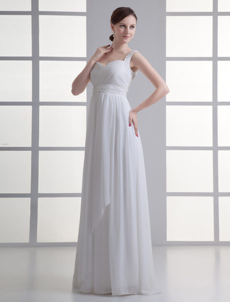 Milanoo Floor-Length Ivory Sweetheart Neck Sheath Sequin Brides Wedding Dress