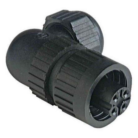 Lumberg Automation , CA IP66, IP67 Black Screw 3+PE Angled Industrial Power Plug, Rated At 10.0A, 230.0 V, 400.0 V