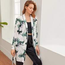 Tropical Print Contrast Binding Belted Robe