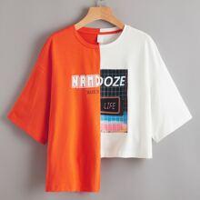 Camiseta neon asimetrico de dos colores con estampado mixto