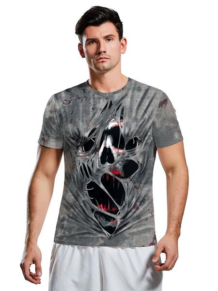 Milanoo Halloween Costumes Grey Scary Skull Print T-shirt Cosplay Holidays Costumes